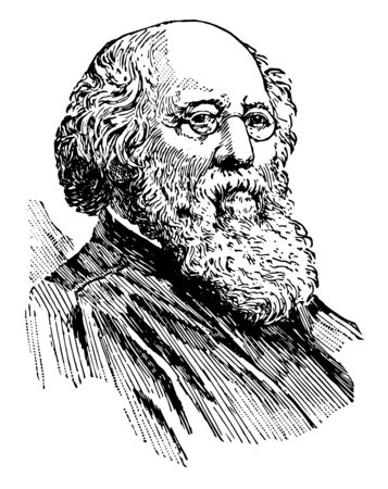 Stephen Johnson Field 1816 to 1899 he was an American jurist an associate Justice of the United States supreme court from 1863 to 1897 and fifth chief Justice of California vintage line drawing or engraving illustration Ilustração