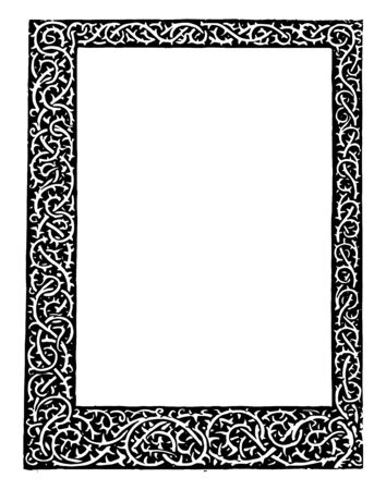 Thorn Stem Border have scrolls and intertwines all around vintage line drawing or engraving illustration. 向量圖像