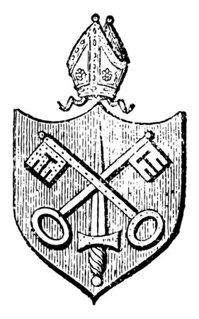 Bishopric is the administrative body of a Mormon ward consisting of a bishop the area for which a bishop it is responsible or the rank or office of being a bishop vintage line drawing or engraving illustration. 向量圖像