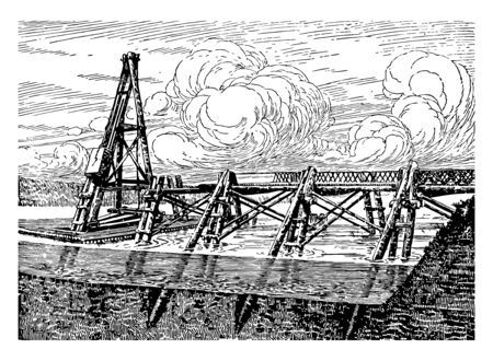 Caesars Bridge Over the Rhine built by Julius Caesar his legionaries to aid in crossing the Rhine River considered masterpieces of military engineering vintage line drawing or engraving illustration.