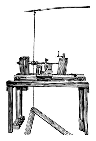 This illustration represents Pole Lathe which is a wood turning lathe vintage line drawing or engraving illustration. Çizim