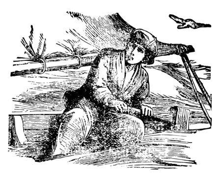 A scene from the story Anne Lisbeth this scene shows a seated man holding some instrument in hand and a flying bird vintage line drawing or engraving illustration