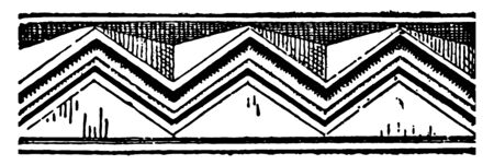 Chevron is indicate rank or length of service which consists heraldry and the designs of flags it have archaeological recovery of pottery designs vintage line drawing or engraving illustration.