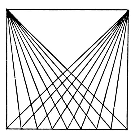 Drawing Diagonal Lines with T Squares and Triangle is to allow each line to dry before inking and drawn using a 45 degree triangle, vintage line drawing or engraving illustration.