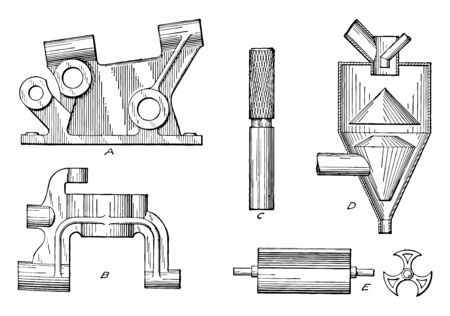 Shaded Single Curved Surfaces used in mechanical drawing, it is the simple line drawing of a solid and curve projects to a pair, vintage line drawing or engraving illustration.