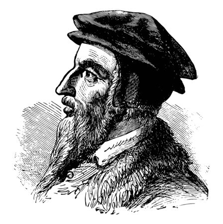 John Calvin, 1509-1564, he was an influential French theologian, pastor and reformer, and principal figure in the development of the system of Christian theology, vintage line drawing or engraving illustration