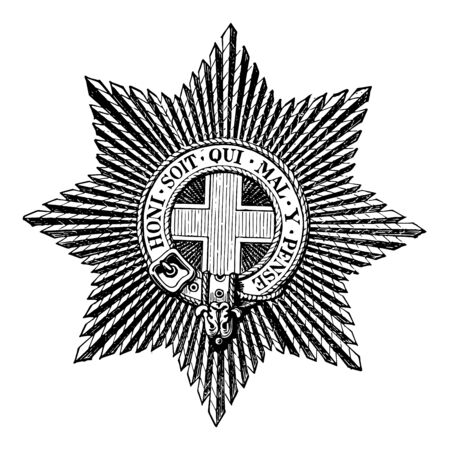 Star of the Order of the Garter is worn on the left breast vintage line drawing or engraving illustration.