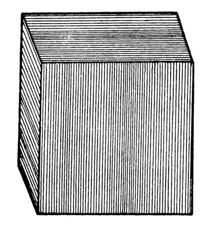 This diagram represents Cube of Iron Pyrite, vintage line drawing or engraving illustration.