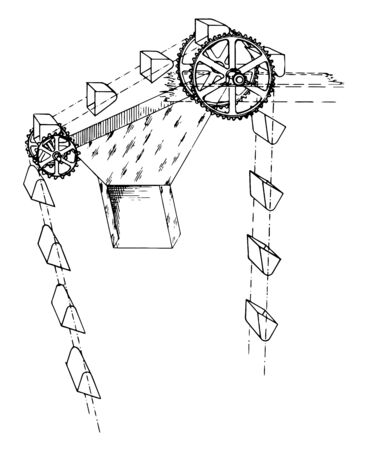 This illustration Gravity Discharge Bucket Elevator vintage line drawing or engraving illustration. Çizim