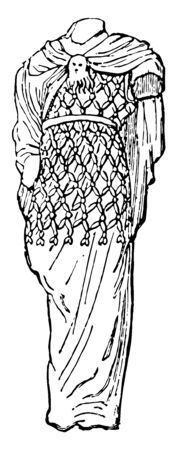 Agrenon was a net to like woolen garment worn by bachanals vintage line drawing or engraving illustration.