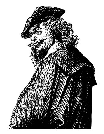 Rembrandt Van Rhyn 1606 to 1669 he was a Dutch draughtsman painter and printmaker vintage line drawing or engraving illustration