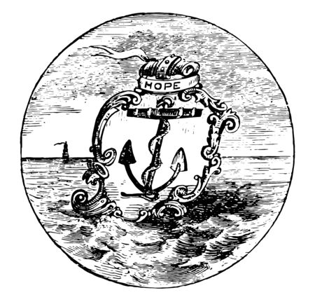 The official seal of the U.S. state of Rhode Island in 1889 this circle shape seal has shield with boat anchor HOPE is written on top of shield it also has sea and ship in background vintage line drawing or engraving illustration
