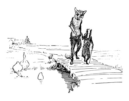 Reynard the Fox: Walking with Grimbard this scene shows the fox holding book and the badger walking together on bridge and birds in the water vintage line drawing or engraving illustration Ilustracja