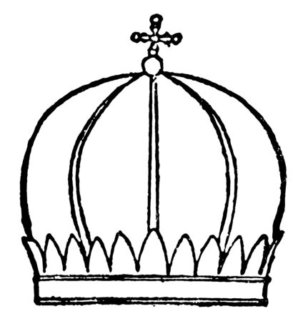Mitre of Armenian Priest as well as the bishops vintage line drawing or engraving illustration.