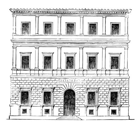 Small Palace at Rome by Balthazar Peruzzi The pupils of Bramante the principle of his works mentioned the Farnesia at Rome vintage line drawing or engraving illustration.
