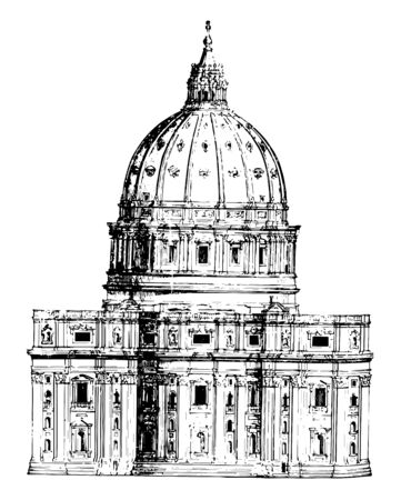 Back View of St. Peters Rome facade and lengthened nave dome vintage line drawing or engraving illustration. Illusztráció