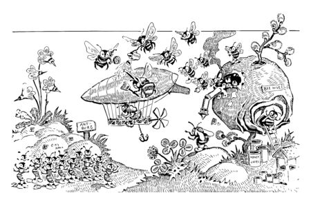 Ants and Bees this scene shows bees coming out from hive and flying towards the ant burg in a miniature Zeppelin It also shows flowers hills and honey jars vintage line drawing or engraving illustration