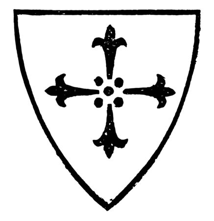 Cross of Four Ermine Spots with a charge of a cross with four ermine spots vintage line drawing or engraving illustration.