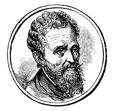 Michelangelo 1475 to 1564 he was an Italian sculptor painter architect and poet of the high Renaissance vintage line drawing or engraving illustration Foto de archivo - 133084000