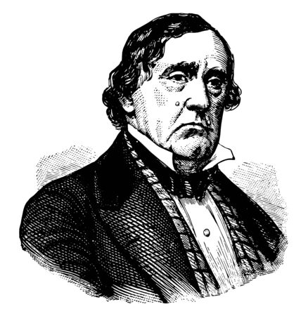 Lewis Cass 1782 to 1866 he was an American military officer politician statesman and United States Senator from Michigan vintage line drawing or engraving illustration Illustration