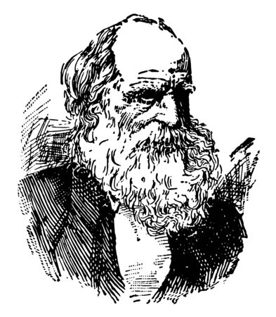 William Cullen Bryant 1794 to 1878 he was first American poet journalist and editor of the New York evening post author of Thanatopsis vintage line drawing or engraving illustration Foto de archivo - 133084004