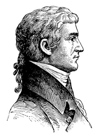 Meriwether Lewis 1774 to 1809 he was an American explorer soldier politician and public administrator famous as the leader of the Lewis and Clark expedition vintage line drawing or engraving illustration Banque d'images - 133082797