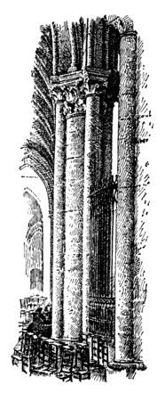 Pillar from the Cathedral of Tours, France, circa 13th century, Arnau Vidal, master, vintage line drawing or engraving illustration.