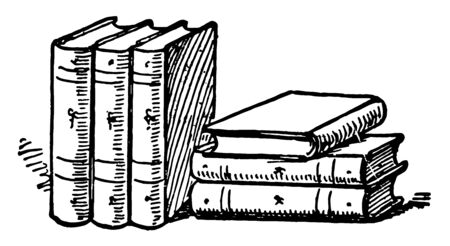 Six Books or collections of books book reading pile of books vintage line drawing or engraving illustration.