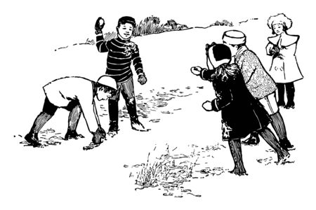 Small kids are making snow ball and throwing on each other vintage line drawing or engraving illustration. 向量圖像