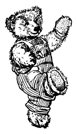 Walking Bear this picture shows a bear in overalls and walking vintage line drawing or engraving illustration