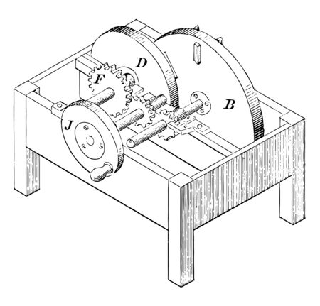This illustration represents Machine Mattress Shaving which used to cut the shavings used to fill a mattress with cushioning vintage line drawing or engraving illustration.  イラスト・ベクター素材