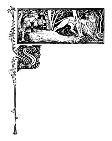 Fairy Queen are made by English artist Walter Crane in 1896 vintage line drawing or engraving illustration.