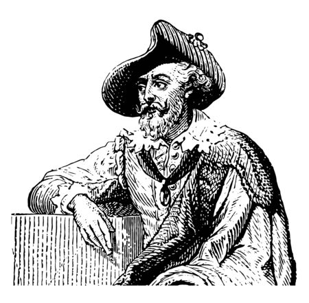 Peter Paul Rubens who is the 17th century Flemish Baroque painter vintage line drawing or engraving illustration.