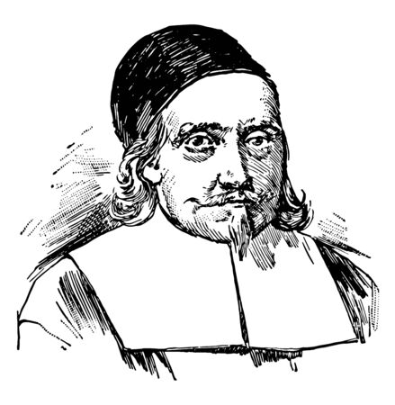 John Endicott c. 1588 to 1665 he was a colonial magistrate soldier and governor of the Massachusetts vintage line drawing or engraving illustration