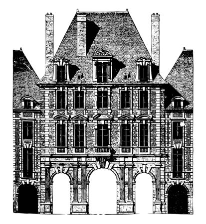Paris Royal Palace Façade officially the Grand Louvre simply the Louvre the national museum of France most visited museum in the world vintage line drawing or engraving illustration. Ilustrace