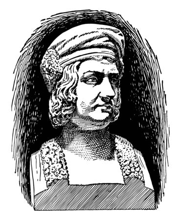 Christopher Columbus 1451 to 1506 he was an Italian explorer navigator first governor of the Indies and colonizer who discovered route to the Americas while in search of the Indies vintage line drawing or engraving illustration Illustration