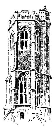 Lantern Tower at Grey Friars, King's lynn, Gothic architecture, lantern tower, frequently placed, center of cross churches, a friary in Norfolk, England, vintage line drawing or engraving illustration.