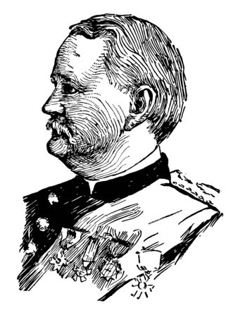 Wesley Merritt 1836 to 1910 he was the first American military governor of the Philippines vintage line drawing or engraving illustration