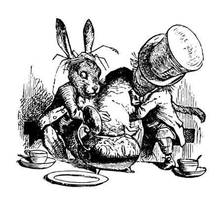 Two animals keeping or pushing another animal in jar, two cups on ground , vintage line drawing or engraving illustration
