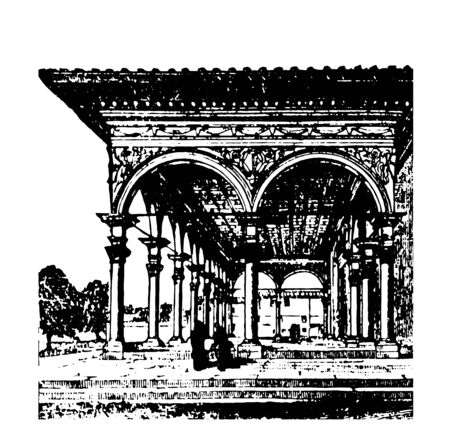 Arcade piers pillars wall building element vintage line drawing or engraving illustration.