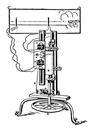 This illustration represents function of Bashforth Chronograph which unwinds the spring, vintage line drawing or engraving illustration.