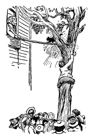 Pussy and Binkie this scene shows a boy climbing on tree cat on tree walking towards the window with help of ladder two people in window other people around tree vintage line drawing or engraving illustration Illusztráció