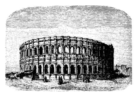 The Arena of Nîmes a Roman amphitheater during the time of Emperor Caesar Augustus structure is designed in an enclosed ellipsis vintage line drawing or engraving illustration. 向量圖像