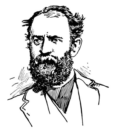 Jason Jay Gould 1836 to 1892 he was an American financier a leading American railroad developer and speculator vintage line drawing or engraving illustration