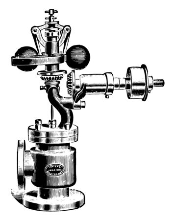 This illustration represents Waters Spring Governor with Safety Stop and variation in height being due to the action the bell crank levels connecting the balls and spindle vintage line drawing or engraving illustration.