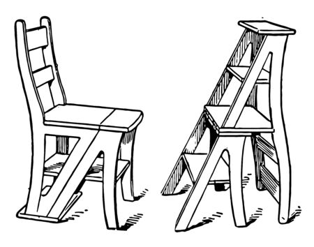 This illustration represents Combination Chair and Stepladder where a chair that also serves as a stepladder vintage line drawing or engraving illustration.