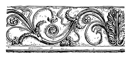Pompeiian Rinceau is a Ancient Rome vintage line drawing or engraving illustration. Archivio Fotografico - 132811067