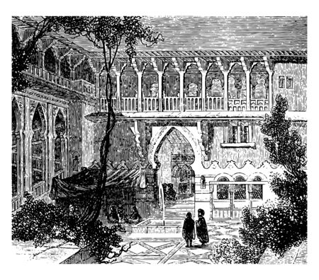 Courtyard of a House, an antique structure, large houses often have small courtyards, an example of such a house, vintage line drawing or engraving illustration.