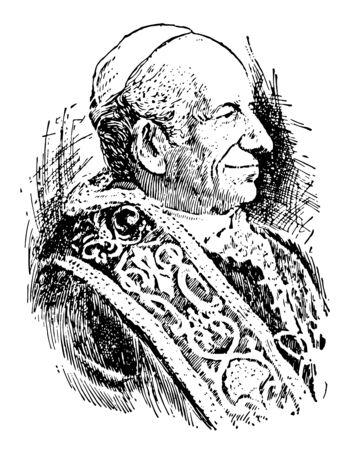 Leone XIII dal 1810 al 1903 fu un papa dal 1878 al 1903 disegno dell'annata o illustrazione dell'incisione Vettoriali