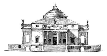 Villa by Palladio the compositions of Palladio so celebrated composed of heterogeneous elements rendered his combinations of civic vintage line drawing or engraving illustration.